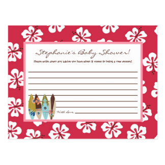 Writable Advice Card Pink Hawaiian Luau Tropical Postcard