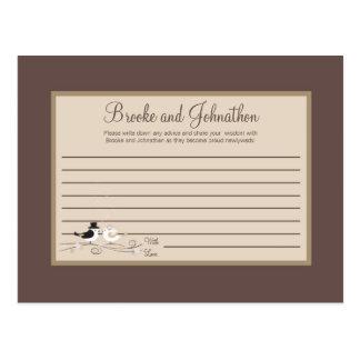 Writable Advice Card Wedding Birds Bride Groom Postcard