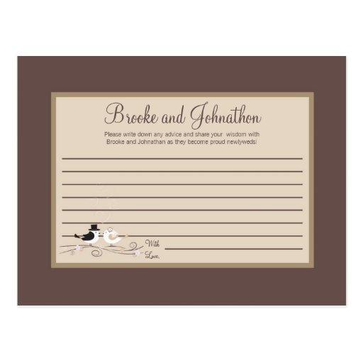 Writable Advice Card Wedding Birds Bride Groom Post Card