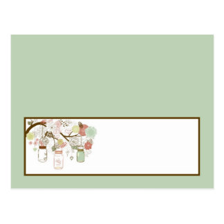Writable Place Card Spring Floral Mason Jars green