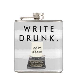 Write Drunk Edit Sober Typewriter on Gray Stripes Hip Flask