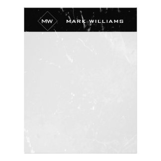 Write In Style Monogram Black Marble Professional Letterhead