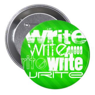 Write; Neon Green Stripes 3 Inch Round Button