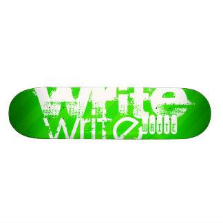 Write; Neon Green Stripes Skate Board
