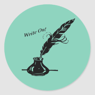 Write On! Quill Ink for Writers Classic Round Sticker