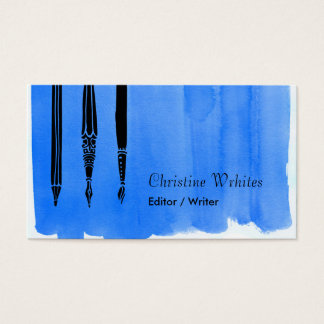 Writer Author Fountain Pen Quill Editor Blue Business Card