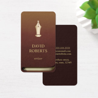 Writer Author Gold Pen Logo Professional Book Business Card