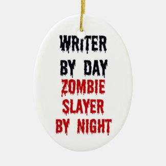 Writer By Day Zombie Slayer By Night Ceramic Oval Ornament