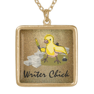 Writer Chick with Paper, Feather Quill and Ink Gold Plated Necklace