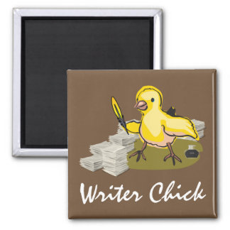 Writer Chick with Paper, Feather Quill and Ink Square Magnet