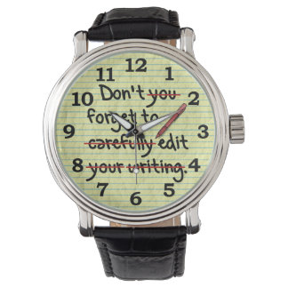 Writer Editor Editing Reminder Note Watch