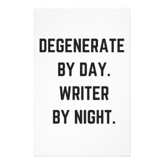 Writer Humor Illustration Night Collection Design Customized Stationery