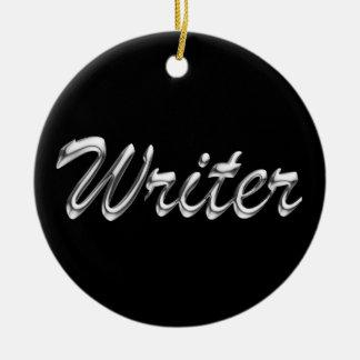 Writer Metallic Looking Script Round Ceramic Ornament