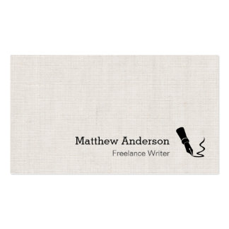 Writer Pen Symbol - Simple Elegant Linen Look Business Card Templates