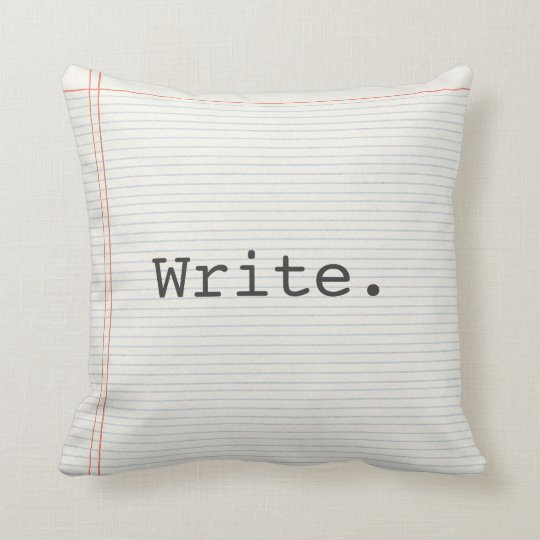 Writer pillow, write, notebook paper, typewriter throw pillow