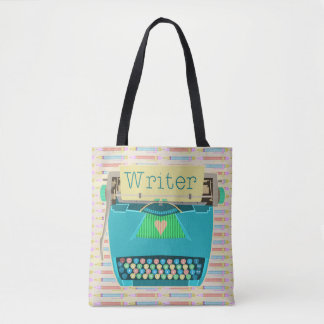 Writer Typewriter Cute Retro Aqua Blue Modern Tote Bag