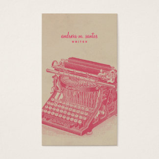 Writer Vintage Typewriter Cool Pink Simple Modern Business Card