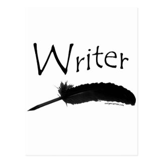 Writer with quill pen postcard
