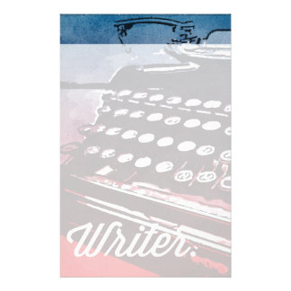 Writer with Typewriter Blue Red Pop Art Stationery