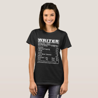 Writer's Nutrition Facts Tee-Shirt T-Shirt