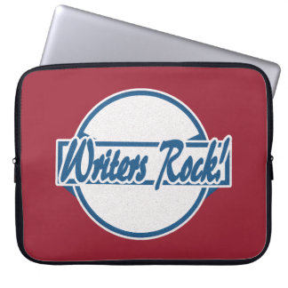 Writers Rock Circle Logo Blue Grunge Computer Sleeve