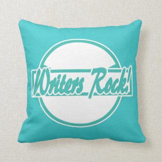 Writers Rock Circle Logo Turquoise Grunge Throw Pillow