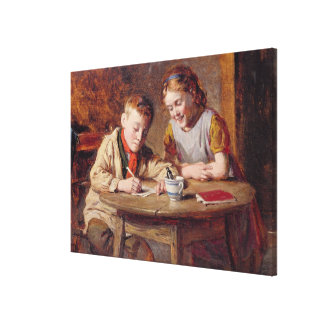 Writing a Letter (oil on panel) Canvas Print