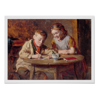 Writing a Letter (oil on panel) Poster