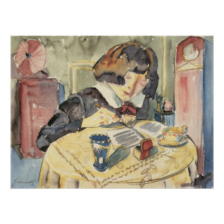 Writing girl (Sonia Gramatté) by Walter Gramatte Poster