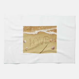 Writing Love In The Sand Kitchen Towel