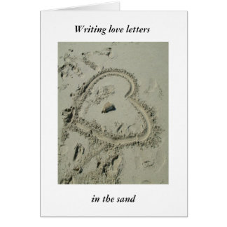 """Writing love letters, in the sand"" Greeting Card"