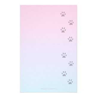 Writing Paper with Cat Footprints Stationery Design