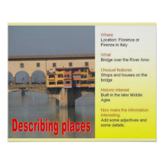 Writing Skills, describing places Poster