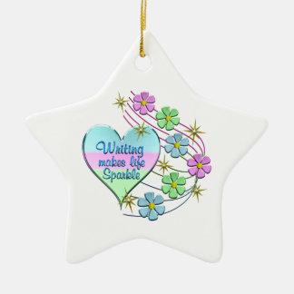 Writing Sparkles Ceramic Ornament