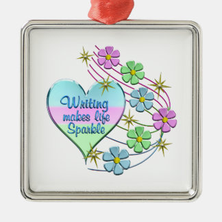 Writing Sparkles Metal Ornament