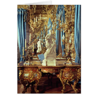 Writing table and statue of Louis XV Card