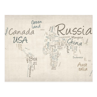 Writing Text Map of the World Map Postcard