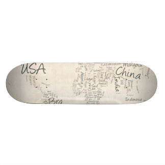 Writing Text Map of the World Map Skate Boards