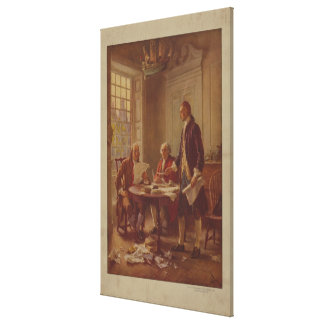 Writing the Declaration of Independence by Ferris Stretched Canvas Prints