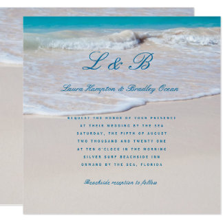 Written in Sand Tropical Beach Wedding Invitation