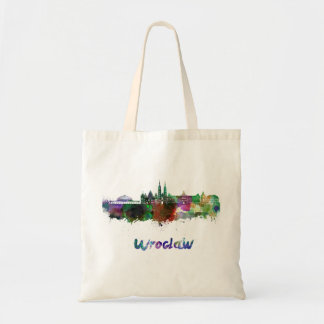 Wroclaw skyline in watercolor tote bag
