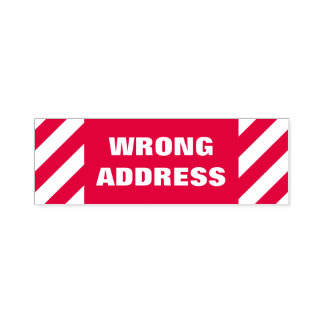 """WRONG ADDRESS"" Self-Inking Rubber Stamp"