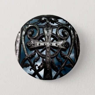 Wrought iron cross 2 inch round button