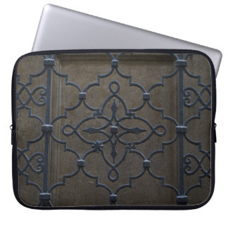 wrought iron grid vintage architectural metal deta laptop sleeve