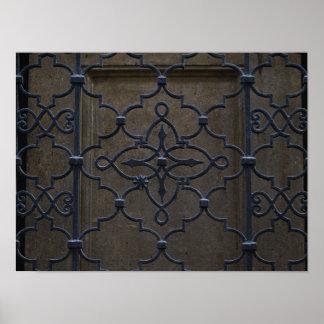 wrought iron grid vintage architectural metal deta poster
