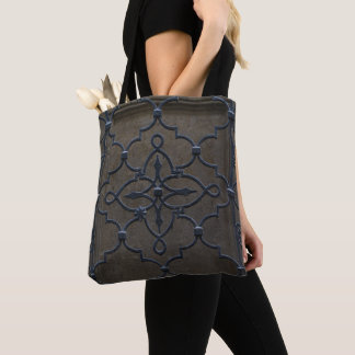 wrought iron grid vintage architectural metal deta tote bag