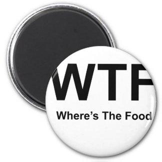 WT F, black fonts 2 Inch Round Magnet