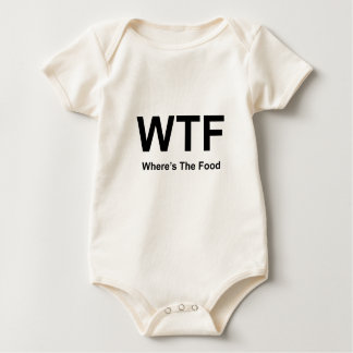 WT F, black fonts Baby Bodysuit