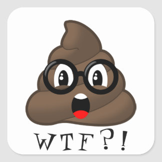 WTF Funny Poop Emoji With Glasses Sticker