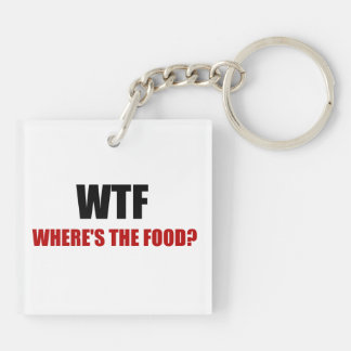 WTF Wheres The Food Double-Sided Square Acrylic Keychain